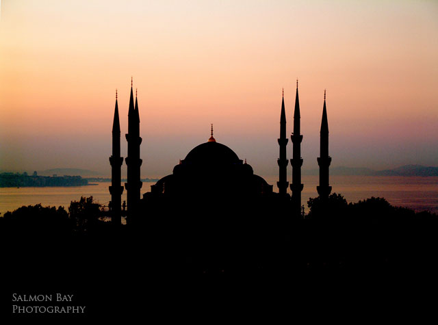 blue mosque, sunrise